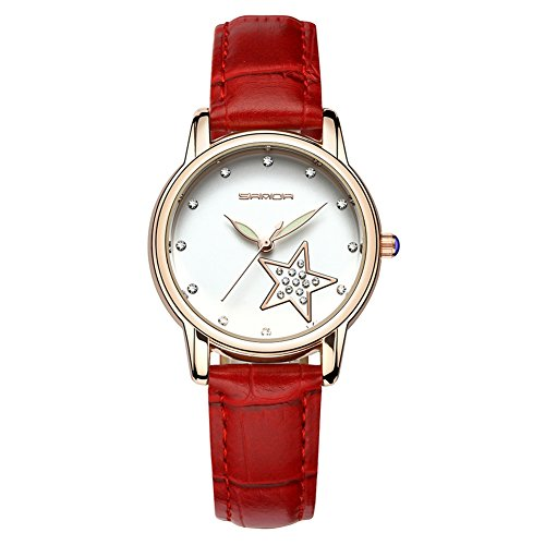 Uhren für Frauen, Mode runden Zifferblatt Uhren Luxus Leder Damen Kleid Uhr(Rot)
