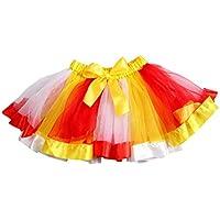 FENICAL Mädchen Regenbogen Farbe Mesh Tutu Rock Bogen Dekorieren Kinder Tanzen Rock Kinder Leistung Rock (L)