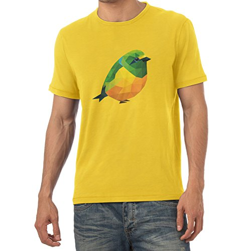 Texlab Polygon Vogel - Herren T-Shirt, Größe S, Gelb (T-shirt Vögel Graphic)