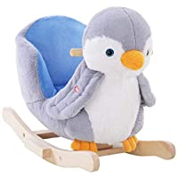 HOMCOM Rocking Animal Horse Owl/Penguin Lovely Plush Musical Button w/32 Songs Wide Seat Handlebar Multicoloured Stable Wooden Base