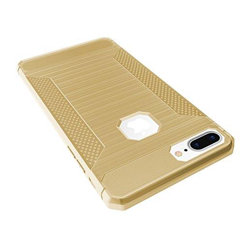 YAN Für iPhone 7 Plus Brushed Carbon Fiber Texture Shockproof TPU Schutzhülle ( Color : Red ) Gold