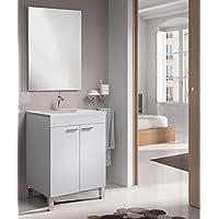 SERMAHOME- Conjunto de Baño modelo Classic. Mueble de Lavabo + Espejo + Lavabo. Color Blanco Brillo. Medidas Mueble Lavabo: 80 cm alto x 60 cm ancho x 45 cm fondo. Medidas Espejo: 80 cm alto x 58 cm ancho. - mueblesdebanoprecios.eu - Comparador de precios