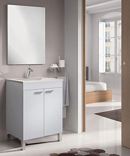 SERMAHOME- Conjunto de Baño Modelo Classic. Mueble de Lavabo + Espejo + Lavabo. Color Blanco Brillo...