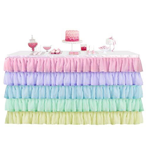 BEST OF BEST 3 Tüll Regenbogen Tischrock Anti-Falten-Futter & Chiffon Tisch Sockelleiste für Bühne Leistung Thema Anime Party Baby Dusche Hochzeit Geburtstag Dekor (9ft)