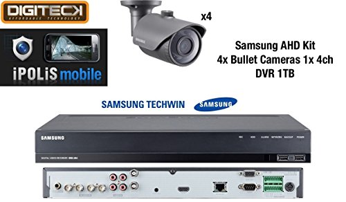 Samsung 4X Full HD 1080p Outdoor Bullet Kameras & 1x 4Kanal DVR 1TB-CCTV Analog AHD Surveillance Kit Samsung Hd-dvrs