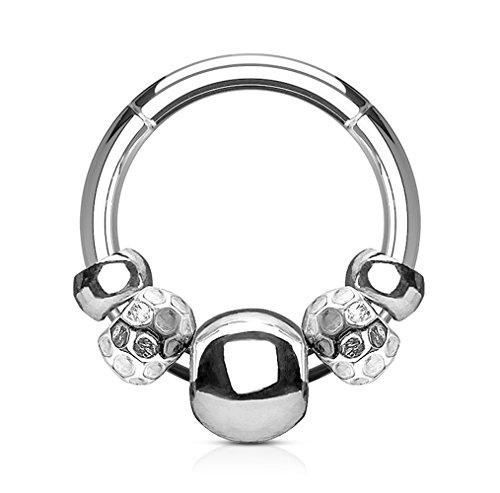 Kultpiercing - Universal Segmentring Steel Beads - Septum Cartilage Helix Tragus Lippen Intim Brust Nasen Segment Piercing - Chirurgenstahl Scharnier Clicker Ring - 1,2 x 8 mm - Silber
