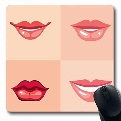 Luancrop Mousepads Red Mouth Lips Verschiedene Make-up Balm Smile Pink Girl Face Catwalk Machen Sie rutschfeste Gaming Mouse Pad Rubber Oblong Mat