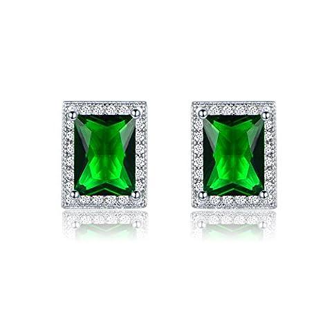 GULICX Rechteck Ohrringe Silber-Ton Smaragd Farbe Kristall Ohrstecker Grün Zirkonia