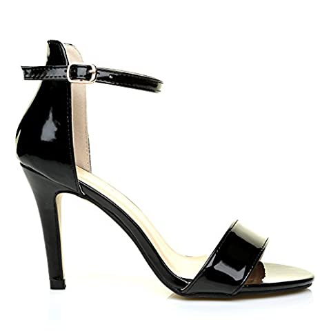 PAM Black Patent Ankle Strap Barely There High Heel Sandals Size UK 6 EU 39