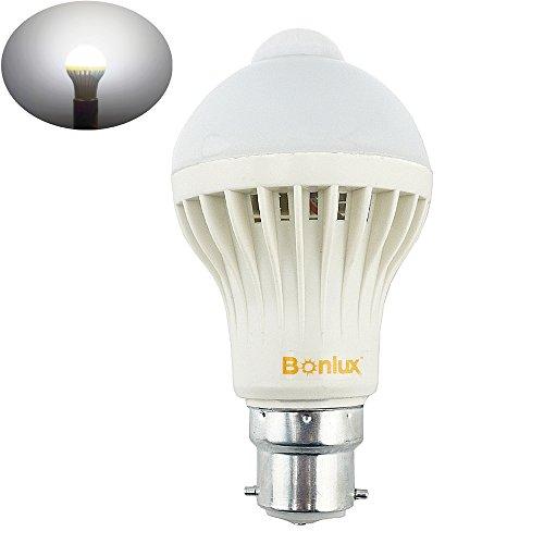 Bonlux 5W B22 BC PIR Capteur de Mouvement Infrarouge Ampoule LED Cool White 6000K A19 A60 GLS Baïonnette éclairage LED automatique ampoule 50W halogène de remplacement