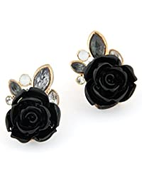 Cinderella Collection By Shining Diva Black & Golden Crystal Stud Fancy Party Wear Earrings For Girls & Women...