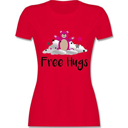 Comic Shirts - Free Hugs - Damen T-Shirt Rundhals Rot