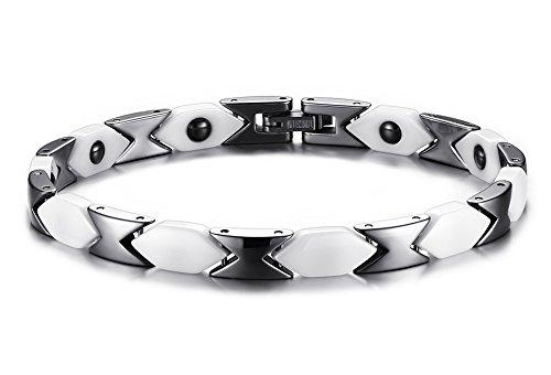 Vnox 6 millimetri in acciaio inox ceramica doppio tono Bracciale terapia magnetica per donne degli uomini,Silver White,20 centimetri