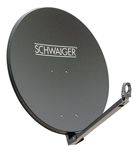 SCHWAIGER -227- Satellitenschüssel, Sat Antenne mit LNB Tragarm und Masthalterung, Sat-Schüssel aus Aluminium, Anthrazit, 74,5 x 84,5 cm