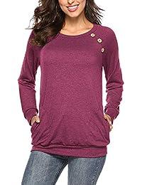 NICIAS Damen Langarmshirt Pullover Lässige Rundhals Sweatshirt  Schaltflächen Hemd T Shirt Bluse Tunika Top mit… d696eb1b31