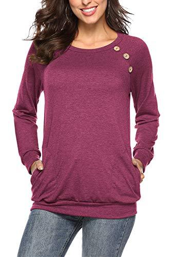 NICIAS Damen Langarmshirt Pullover Lässige Rundhals Sweatshirt Schaltflächen Hemd T Shirt Bluse Tunika Top mit Taschen Wein XXL