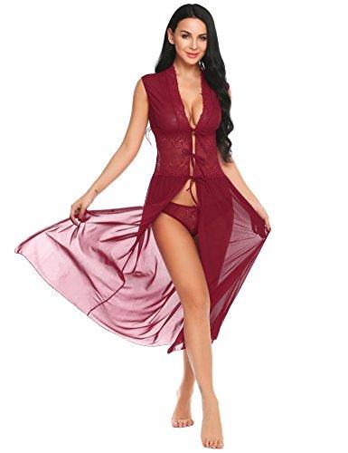 INZOE Dessous Kimono Spitze Reizwäsche  Transparente Damen Kleid Gown Kurz Robe Mesh mit Gürtel   und G-String Bikini Cover Up Spitze Sommer Bat Weiter  Ärmel  , Large, Weinrot (Bodenlange Robe)