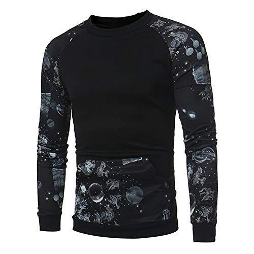 ❤️Sweatshirt Hommes Amlaiworld Hommes Couture imprimée Sweater T-Shirt décontracté à Manches Longues Chemisier de Poche Pullover