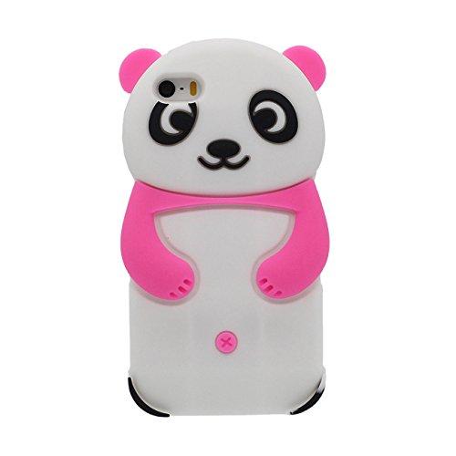 iPhone SE Hülle Panda Gestalten Serie Slikon Gel [ Glatte Oberfläche ] Super Weich Cartoon Tier Case Schutzhülle für Apple iPhone 5 iPhone 5S 5C Hülle - lila hot pink