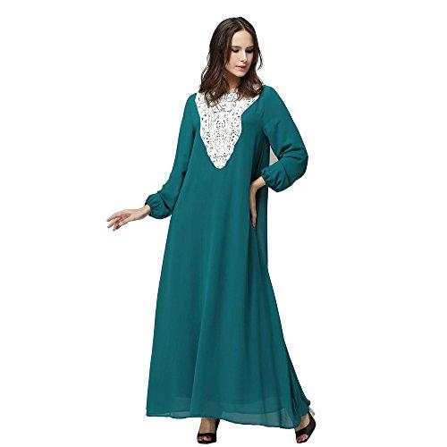 BOZEVON Mujeres Elegante Vestido de Musulmán Árabe Túnica Manga Larga Largos Vestidos Rosa / Morado / Verde / Negro / Azul / Rojo