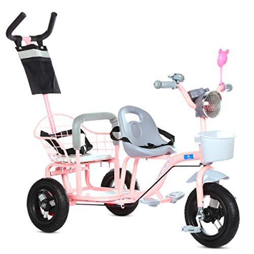 JHGK Tandem-Dreirad Für Kinder, Tandem-Dreirad, Dreirad Mit Musikbeleuchtung, Titanfelgen, Dreirad Aus Karbonstahl Für Kinder Tricycle,Rosa
