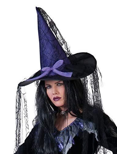 Luxuspiraten - Kostüm Accessoires Zubehör Spitzer Hexen-Hut Zauberin Magierin mit Tüll, Whitch Hat Purple Black, perfekt für Halloween Karneval und Fasching, - Whitch Kostüm