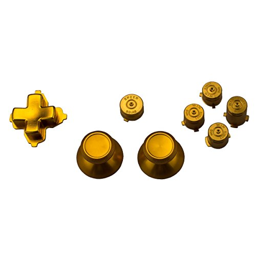 Thumbsticks mit Bullet Buttons für Xbox One Controller, Aluminium gold (Xbox One Controller-tasten Metall)