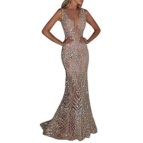 Abendkleid Damen Kleid Sexy V-Ausschnitt Glänzend Hoch Geschnitten Maxikleider Elegant Brautjungfer Hochzeit Schulterfrei Cocktailkleid (Color : Silver, Size : XXL) (Silver Womens Cocktail Kleider)