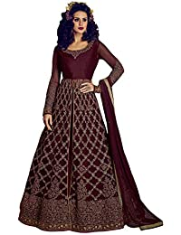 Like A Diva Embroidered Net Anarkali With Lehenga Skirt & Pants In Wine Colour for Women