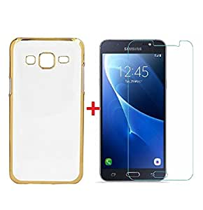 YuniKase Samsung Galaxy J7 - 6 (New 2016 Edition) - Transparent Soft Silicon Flexible Electroplated Edges TPU Back Case Cover + Premium Tempered Glass screen pretector - GOLD