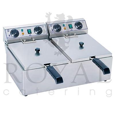 Royal Catering - RCTF-13DH - Double Friteuse électrique de 2x13 litres - 100 % acier inox - 3,2 kW - Minuteur par Royal Catering