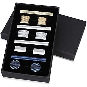 12er Pack exquisite Manschettenknöpfe und Krawattenklammer Set für Herren Shirt Business Hochzeit Festival Schmuck mit Geschenkbox