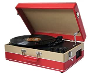 Steepletone SRP05TT Stand Alone 3 Speed ​​Record Player avec Radio MW- FM - Rouge / Beige