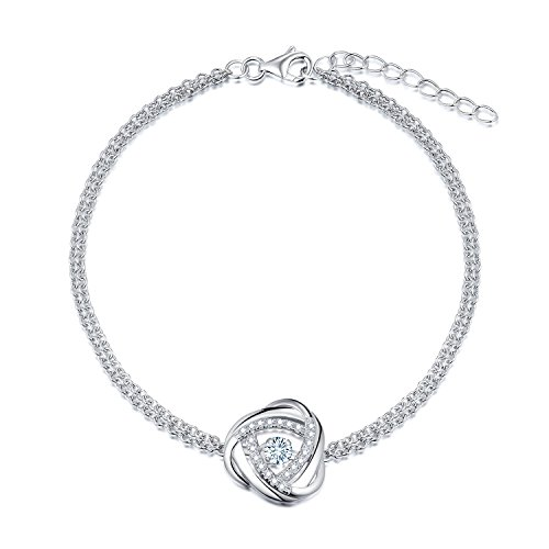 (Starchenie 925 Sterling Silber Armband für Frauen, Dreieck Armband mit tanzenden natürlichen Topas, Kettenlänge 18 + 2cm)