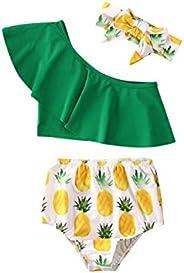 Geagodelia Juego de 3 piezas de traje de baño para niña de verano, camiseta verde sin hombros + pantalones con
