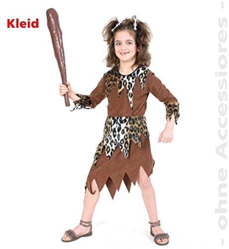 Flintstones Zubehör Kostüm - KarnevalsTeufel Kinder-Kostüm Steinzeit-Girl, Neandertaler, Urzeitmensch, Eiszeit, Höhlenmensch, Urmensch Kleid Mädchen-Kostüm (152)