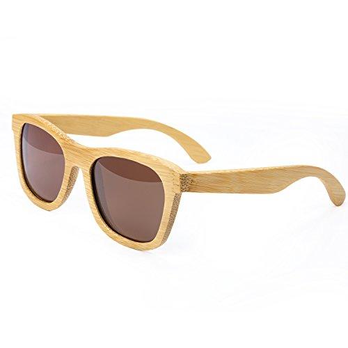 HBselect Sonnenbrille unisex aus Bambus UV400 polarisiert mit Brillenetui (braun)