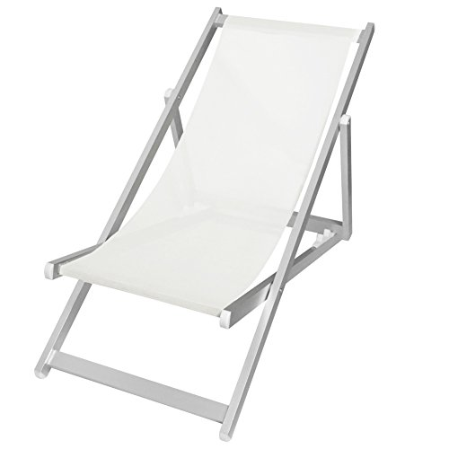 Bakaji sedia sdraio pieghevole professionale con struttura tubolare in alluminio anotizzato e seduta reclinabile in telo textilene a trama larga in colore bianco per esterno giardino piscina mare dimensioni 106 x 57 x 85 cm