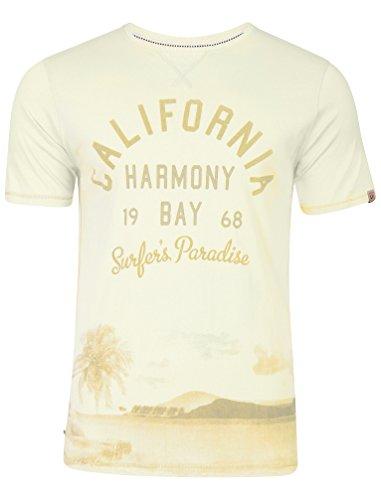 Tokyo Laundry Herren Norton Cove Springs Gedruckt Rundhals Kurzarm T-Shirt Größe S- XXL Elfenbein