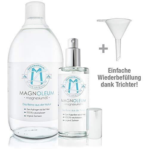 Magnesiumöl PUR Glasflaschen   1000ml + 100ml + Trichter   100% Zechstein inside   Ohne Zusätze   Magnesiumchlorid Lösung