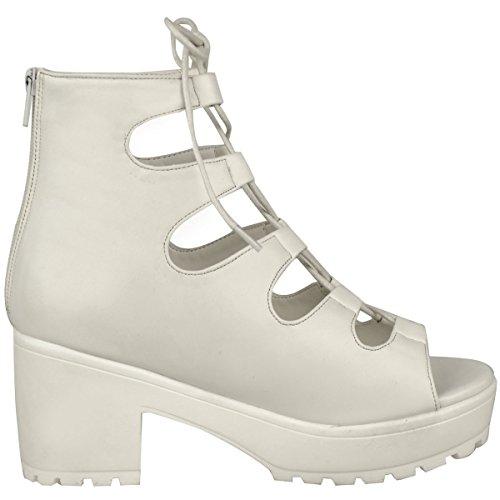 Damen Frauen Klobig Mittelhoch Plateau Schnürsenkel Ausgeschnitten Eingesperrt Sandalen Stiefel Größe Weiß Kunstleder