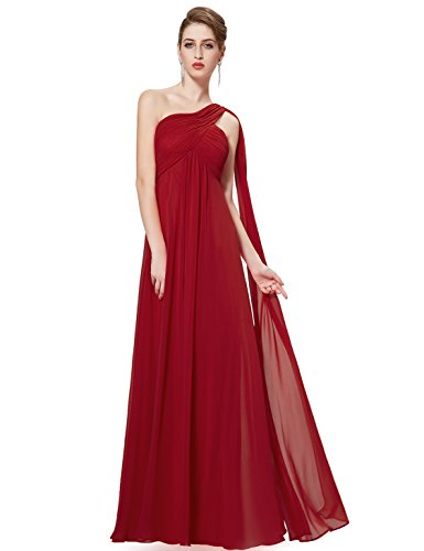 Ever Pretty Damen Lange One Shoulder Chiffon Abendkleider Festkleider Größe 40 Burgundy