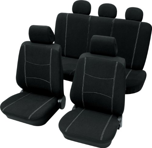 CARTREND 60215 NERO BLACK AND WHITE - FUNDA PARA ASIENTO (11 PIEZAS  COSTURA DE SEGURIDAD  COMPATIBLE CON AIRBAG LATERAL)  COLOR NEGRO Y BLANCO