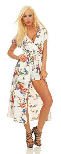 Fashion4Young 11534 Damen Kurzarm Sommer Kleid mit integrierter Shorts Blumenmuster Wickeloptik (weiß, L-XL/38-40)