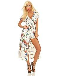 11534 Fashion4Young Damen Kurzarm Sommer Kleid mit integrierter Shorts Blumenmuster Wickeloptik