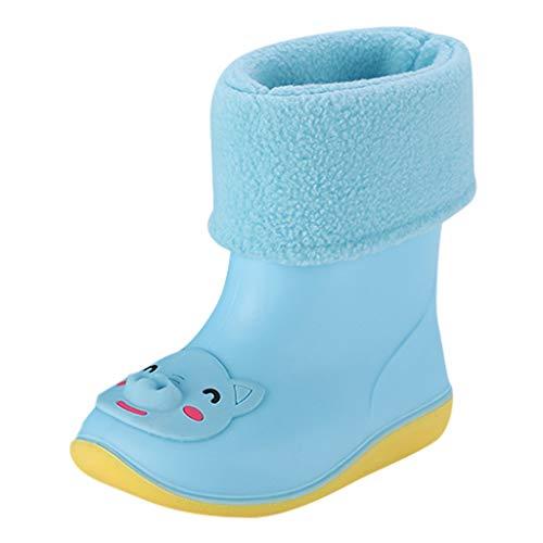 friendGG Kids Boys Girls Wellies Waterproof Rain Boots Warm Fleece-Lined Light Cartoon Animals Unisex Children Wellington Boot Snow Booties