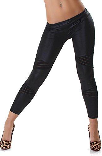Jela London Damen Leggings Woman Leggins Lang Spitze Transparent Matt Glänzend Leder-Optik Transparent 32,34,36,38