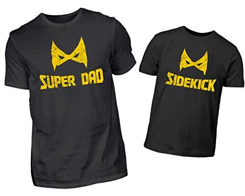 rtnerlook Set Superheld Design Mit Super Dad und Sidekick Für Den Papa Und Sohn Oder Tochter In Schwarz (L & 5/6 (110/116)) ()