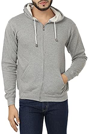 ADBUCKS Men's Cotton Winter Wear Hood with Zipper Jacket (Lightgrey, Medium)