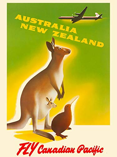 ABLERTRADE Aabletrade Metallschild, 20,3 x 30,5 cm, Australien Neuseeland Kangaroo von Air Vintage, Reisewerbung, Kunst, Metallplakat, Wanddekoration, Schild